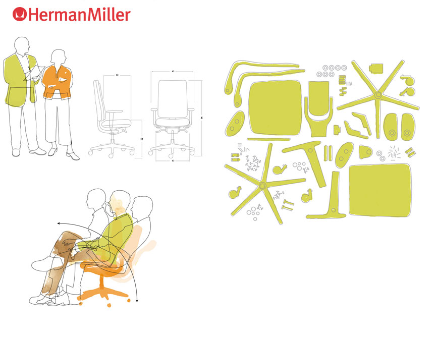 These illustrations were created for the Herman Miller Linea Range brochure.